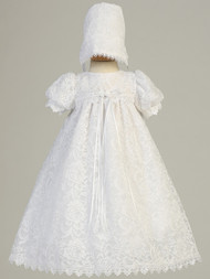 Empire Waist Baptismal Lace Christening Dress With Puff Sleeves