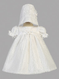 Baby Lace Christening Dress With Empire Waist And Matching Bonnet