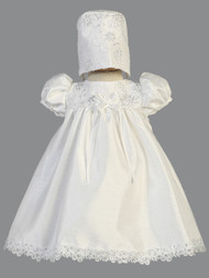 Infant Baby Shantung Baptismal Dress With Beads And Sequins