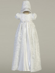 Beautiful Baby Long Satin Lace Baptismal Christening Gown