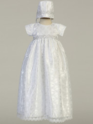 Infant Baby Embroidered Lace Overlay Baptismal Gown