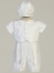 Baby Toddler Baptismal Shantung Romper Suit With Jacquard Vest