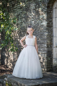 Macis Couture Design Taffeta Tulle Communion Dress With Beaded Bodice