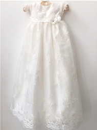 Macis Design Couture Baby Baptismal Dress With Lace Over Taffeta