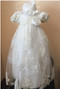 Macis Couture Design Baby Christening Beaded Silver Metallic Dress