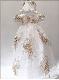 Macis Couture Baby Beaded Lace Baptismal Dress With 3D Gold Flowers
