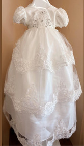 Macis Couture Design 3 Tier Beaded Lace Baby Christening Dress