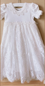 Macis Couture After Christening Baptismal Lace Over Cotton Gown