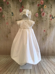 Christie Helene Couture Christening Baby Silk Gown With Lace Accents