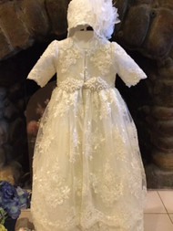 Stunning Luxurious Lace Christening Baptismal Gown By Christie Helene