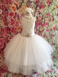 Christie Helene Couture Lace Tulle First Communion Floor Length Gown