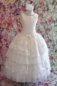 Traditional Style Communion Lace And Tulle Gown By Christie Helene