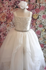 Christie Helene  Couture 1st Communion Gown With Organza And Beaded Lace