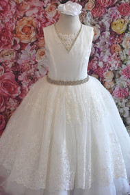 Christie Helene Elite First Communion Gown With Lace Overlay Skirt