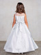 Girls Glitter Pageant Dress With Pleated Bodice And Sheer Neckline