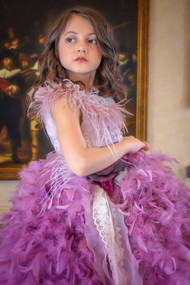 Luxurious Couture Princess Couture Pageant Ruffled Feather Gown
