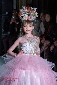 Exquisite Custom Couture Girls Embellished Beaded Tulle Pageant Gown