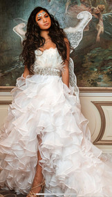 Girls Exquisite Couture Pageant Gown In Cascading Organza Ruffles