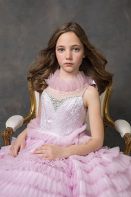Couture Beaded Ombre Flower Girl Pageant Tulle Ruffled Ball Gown