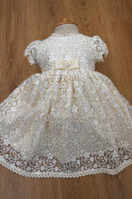 Adorable Baby Couture Handmade Lace Baptismal Christening Dress