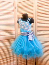 Girls Custom Handmade Turquoise Short Beaded Tulle Pageant Dress