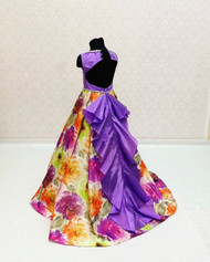 Girls Custom Couture Taffeta Floral Purple Pageant Gown With Train