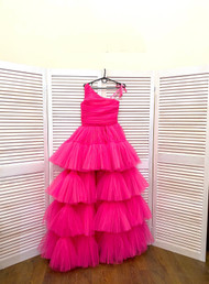 Beautiful Custom Couture Girls Tulle One Shoulder Pageant Gown