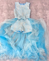 Girls Couture Winner Glitter Silver Blue Pageant Romper With Tulle Train
