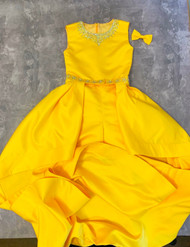 Girls Gorgeous Bright Yellow Couture Pageant Romper With Train