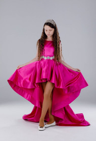 Custom Couture Girls Hot Pink Hi Low Pageant Gown With Crystal Belt