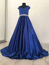 Elegant Custom Couture Royal Blue Girls Satin Pageant Gown