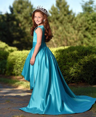 Winner Couture Girls Satin Hi Low Pageant Gown With Beautiful Train