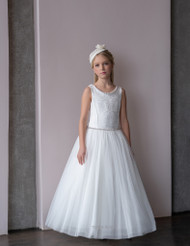 Teter Warm Girls Couture Ivory Communion Flower Girl Tulle Gown