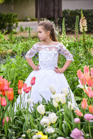 Girls Couture Hand Made Off The Shoulder Communion Flower Girl Dress