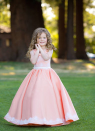 Couture Flower Girl Dress Special Occasion Baby Satin Dress With Lace