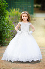 White Couture Flower Girl Communion Dress Toddler Dress Satin Dress