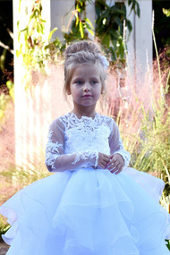 Girls Couture 1st Communion Baptism Baby Party Lace  And Satin Dress