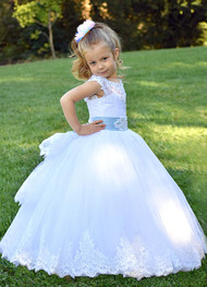 Couture Flower Girl Communion Toddler Baby Dress With Beaded Lace