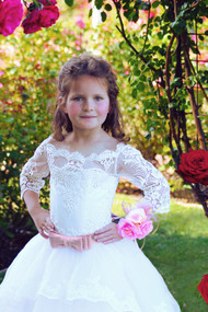 1st Communion Girls Couture Flower Girl Baby Baptism Satin Lace Dress