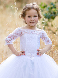 Wedding Couture Lace Flower Girl 1st Communion Baby Baptism Gown