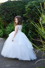 Custom Couture Tulle Lace Flower Girl Communion Baby Christening Dress