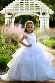 Girls Ivory Birthday Wedding Party Pageant Flower Girl Communion Lace Dress