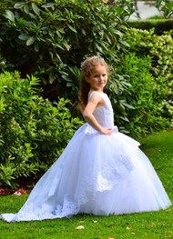 1st Communion Girls Birthday Flower Girl Lace And Tulle Toddler Dress
