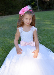 Luxurious Lace Couture Baby Baptism Flower Girl Lace Communion Gown