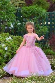 Birthday Party Flower Girl Tulle 3D Lace Baby Pageant Baptism Dress