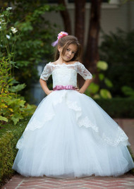 Flower Girl Lace Tulle Pageant Gown Toddler Baptism Birthday Party Dress
