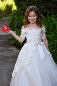 Princess Communion Pageant Flower Girl Lace Gown Baby Baptism Dress