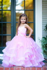 Satin Tulle Flower Girl Pageant Communion Gown Baby Birthday Dress