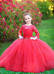 Gorgeous Pageant Wedding Flower Girl Tulle Dress Baby Birthday Party Dress
