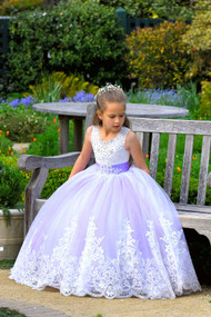Wedding Party Flower Girl Purple Satin Tulle Communion Pageant Gown